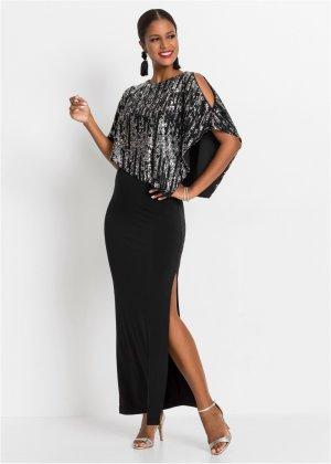 Платье макси с пайетками bonprix. Цвет: черный