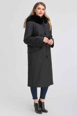 Зимнее прямое пальто на кролике для большого размера SkinnWille. Цвет: черный