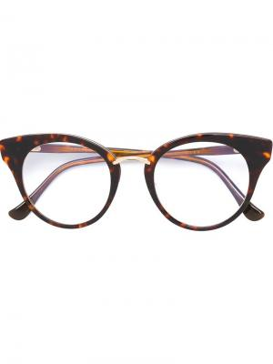 Очки в круглой оправе Dita Eyewear. Цвет: коричневый