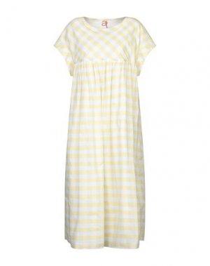 Платье длиной 3/4 ATINSIGHT by ANDREA TURCHI. Цвет: светло-желтый