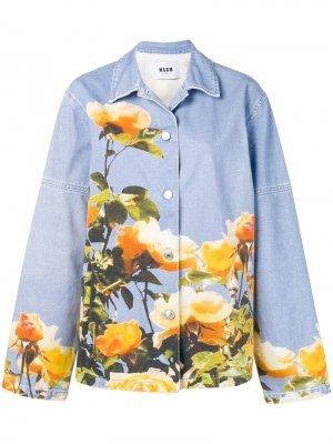 Джинсовая куртка оверсайз с принтом MSGM. Цвет: синий