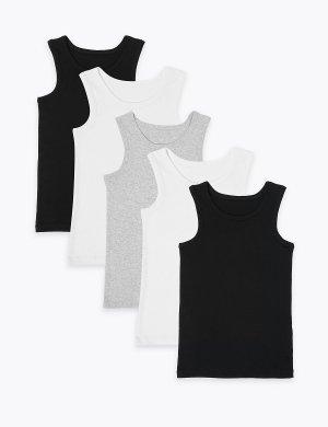 Комплект хлопковых маек (5 шт) Marks & Spencer. Цвет: черный микс