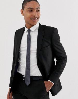 Черный приталенный пиджак -Черный цвет Burton Menswear