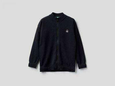 Кардиган из 100% хлопка Benetton. Цвет: черный