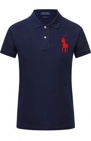 Хлопковое поло с логотипом бренда Polo Ralph Lauren. Цвет: темно-синий