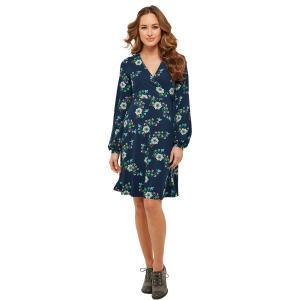 Платье с V-образным вырезом, длинными рукавами и цветочным рисунком JOE BROWNS. Цвет: темно-синий/цветочный рисунок