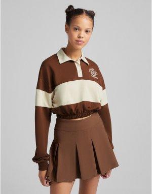 Мини-юбка шоколадного цвета с плиссировкой -Коричневый цвет Bershka