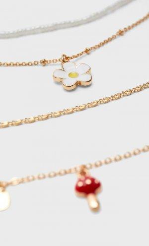 Набор Из 4 Цепочек С Подвесками «Гриб» И «Ромашки» Желтый 103 Stradivarius. Цвет: желтый