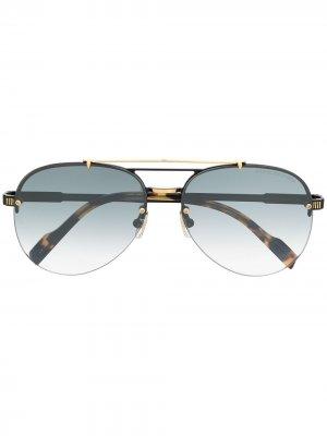 Солнцезащитные очки-авиаторы черепаховой расцветки Cutler & Gross. Цвет: черный