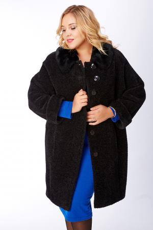 Женское утепленное пальто из альпака на большой размер с рукавом реглан Leoni Bourget. Цвет: черный