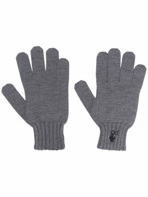 Перчатки с логотипом Hands Off Off-White. Цвет: серый
