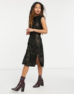 Платье с разрезом до бедра и леопардовым рисунком -Многоцветный Elvi