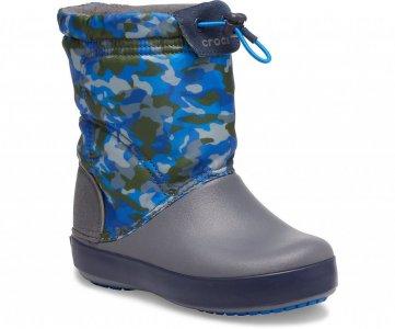 Зимние сапоги детские CROCS Kids' Crocband™ LodgePoint Graphic Winter Boot Army Green/Charcoal арт. 205828. Цвет: army green/charcoal