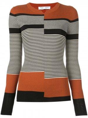 Пуловер тонкой вязки в рубчик Proenza Schouler White Label. Цвет: черный