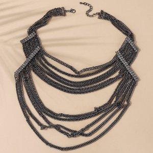 Многослойное ожерелье со стразами SHEIN. Цвет: пистолет черный