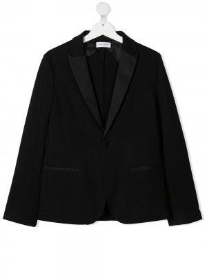 Однобортный пиджак с заостренными лацканами Paolo Pecora Kids. Цвет: черный