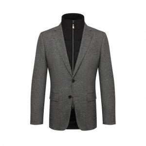 Пиджак из шерсти и шелка BOSS. Цвет: серый