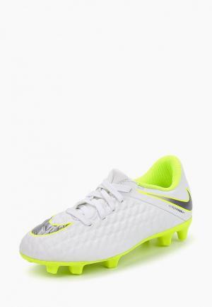 Бутсы Nike Hypervenom 3 Club (FG) Kids Firm-Ground Football Boot. Цвет: белый
