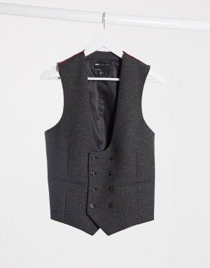 Темно-серый костюм ультраузкого кроя с добавлением шерсти wedding ASOS DESIGN