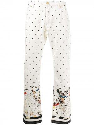 Прямые брюки с принтом Casablanca. Цвет: белый