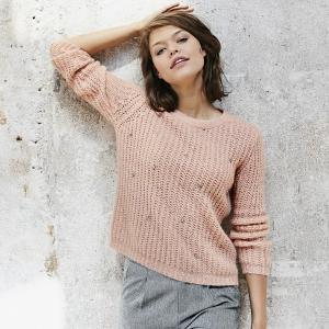 Пуловер с круглым вырезом из плотного трикотажа SUNCOO. Цвет: розовая пудра