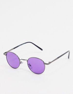 Круглые солнцезащитные очки с фиолетовыми стеклами в темной металлической оправе -Серый AJ Morgan