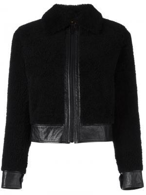Укороченная кожаная куртка Saint Laurent. Цвет: чёрный