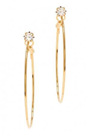 Золотистые серьги-кольца с кристаллами Aqua. Цвет: золотой