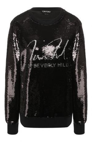 Пуловер с круглым вырезом и пайетками Tom Ford. Цвет: черный