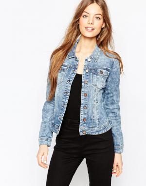 Джинсовая куртка Vila. Цвет: светло-голубой деним