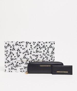 Подарочный набор с черным кошельком и бумажником для карт -Черный French Connection
