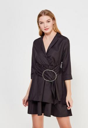 Платье LOST INK PINSTRIPE METAIL RING WRAP FIT AND FLARE. Цвет: черный