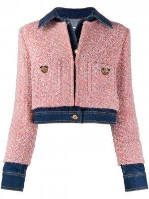 Джинсовая куртка со вставками из твида Moschino. Цвет: розовый