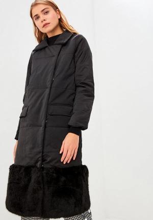 Куртка утепленная Lost Ink FAUX FUR PANEL LONGLINE PADDED COAT. Цвет: черный