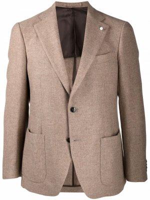 Строгий пиджак LUIGI BIANCHI MANTOVA. Цвет: нейтральные цвета