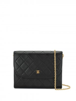 Стеганая сумка на плечо Double Chain с логотипом CC Chanel Pre-Owned. Цвет: черный