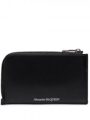 Кошелек с круговой молнией и логотипом Alexander McQueen. Цвет: черный