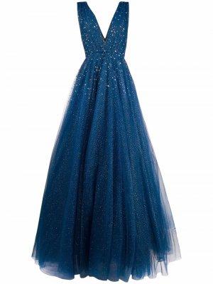Платье Marguerita с глубоким V-образным вырезом Jenny Packham. Цвет: синий