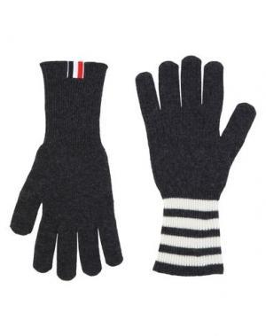 Перчатки THOM BROWNE. Цвет: черный