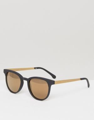 Черно-золотистые солнцезащитные очки в квадратной оправе Franci Komono. Цвет: черный