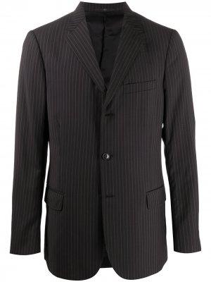 Однобортный пиджак 2000-х годов в тонкую полоску Valentino Pre-Owned. Цвет: черный