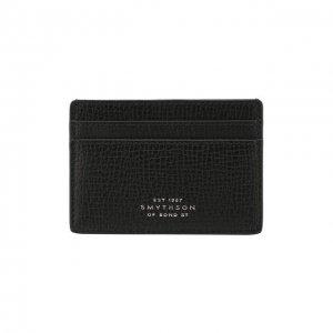 Кожаный футляр для кредитных карт Smythson. Цвет: чёрный