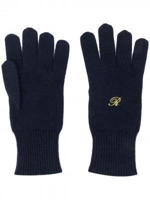 Перчатки Heroes с вышивкой Raf Simons. Цвет: синий