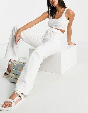 Белые прямые джинсы с завышенной талией и разрезами -Белый Bershka