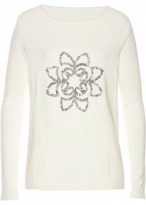 Пуловер с пайетками bonprix. Цвет: белый