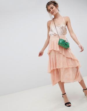 Асимметричная юбка миди с вышивкой -Розовый ASOS DESIGN