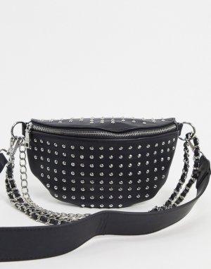 Черная сумка на пояс с отделкой -Черный Steve Madden