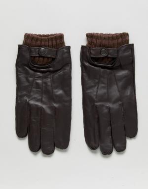 Кожаные перчатки Boardmans. Цвет: черный