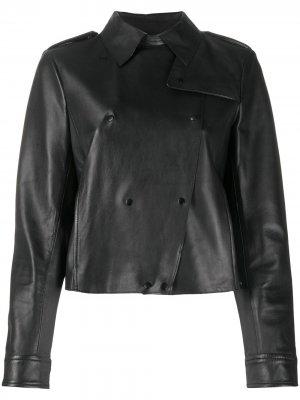 Укороченная двубортная куртка Seventy. Цвет: черный