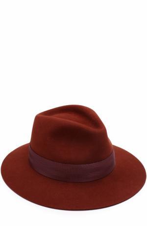 Фетровая шляпа Rico с лентой Maison Michel. Цвет: коричневый